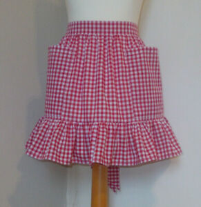 Frilly Red Gingham (Short / Mini Length)Vintage Style Half / Waist Apron