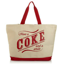 "Coca-Cola canvas ""Have a Coke and a Smile"" Tote Bag, Beach Travel Shopping"