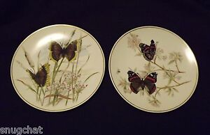 """Pair of Butterfly Plates Golden Crown E & R Western Germany 7-7/8"""" Lovely Design"""