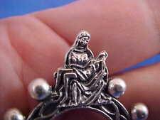 PIETA Mary Jesus Finger Rosary 1 Decade Silver Tone Metal Healing Pocket Rosary