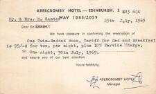 Vintage c1969 Postcard from the Abercromby Hotel in Edinburgh, Scotland, UK