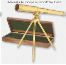 Brass Admiral's Telescope with Tripod and Oak Case Brand New in Box