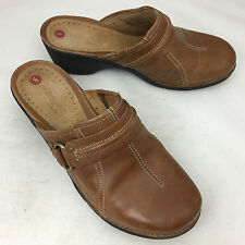 CLARKS UNStructured Tan Leather Mules/Clogs - Size 8.5M EUC!