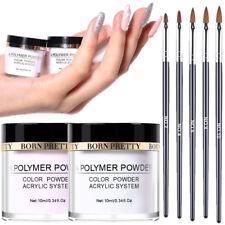 7X Nail Art Sets 2X 10ml Pink Clear Acrylic Powder Dust Tips 5X Carving Art Pens