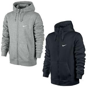 Nike Men's Swoosh Club Hoodie 611456 Grey/Dark Blue Sports Casual Jacket