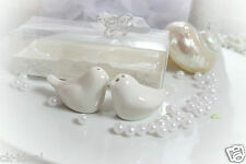 1 Taubenpaar als Gastgeschenk, Salzstreuer, Keramik weiß, Giveaway Hochzeit