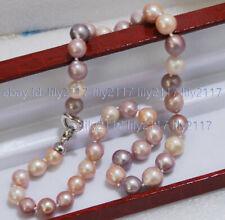 "Real 10-11mm Natural South Sea Multi-Color Baroque Edison Pearl Necklace 16-36"""