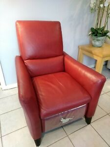 Natuzzi Red Leather Reclining Chair - Hardly Used
