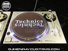 2 custom Silver Technic SL1200 MK5's halos, white leds laser etched dj turntable