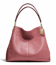 COACH Madison Leather Small Phoebe Shoulder Bag in Rouge Pink 26224 $358