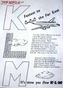 Fly to Far East by 'KLM' Royal Dutch Airlines Advert - Small 1948 Print AD