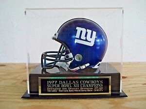 Dallas Cowboys Football Mini Helmet Case With A Super Bowl 12 Engraved Nameplate