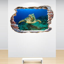 Hawksbill Sea Turtle Smashed Wall Sticker 3D Decal Sea Under The Ocean Bedroom