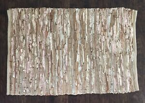 """Woven Leather Mat By Maisons Du Monde Bronze Hearth Rug Small Carpet 25""""x39"""""""