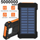 Waterproof 5000000mAh Solar Power Bank 2USB Backup External Battery Pack Charger
