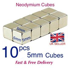 10 Strong Magnets ( 5mm Cube ) Neodymium 1.1Kg Pull Rare Earth Block Magnetic.