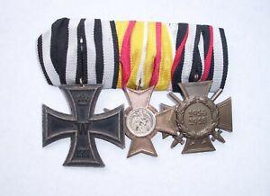 3er Ordensspange mit EK 2, Kriegsverdienstkreuz Baden und Ehrenkreuz