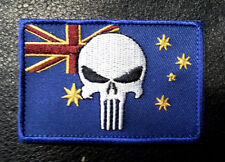 PUNISHER AUSTRALIAN FLAG EMBROIDERED MILITARY 3 INCH HOOK PATCH