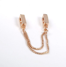 REFLEXIONS FLOATING SAFETY CHAIN CLIP SILVER STERLING 925 ROSE GOLD COLOUR