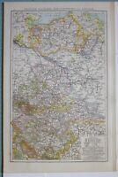 1881 Landkarte Sachsen Mecklenburg Anhalt Schwerin Magdeburg Halle Leipzig