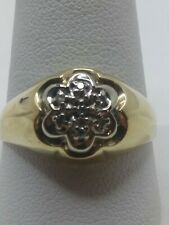 Mens 10k Solid Yellow Gold .04tcw Nat. Diamond Kentucky Cluster Ring Size 10.75