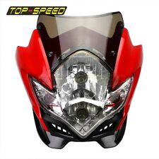 Red Headlight Lamp Fairing Motorcycle Dual Sport Bike Super Moto Street Fighter