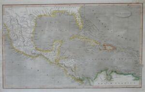 Original 1824 Map EAST & WEST FLORIDA CUBA COSTA RICA West Indies San Antonio