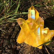 51g Titanium Yellow Sunshine Aura Quartz Crystal Cluster Energy Healing Specimen