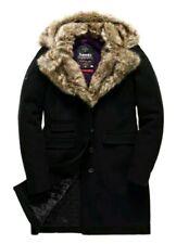 Women's Superdry Superlative Boho Black Town Coat Wool Faux Fur Collar UK Small