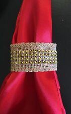 USA Seller - 8pc Set of Burlap Napkin Ring with Gold Bling