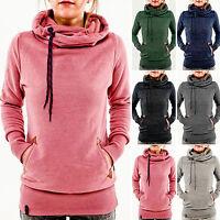 Plus Size Womens Ladies Girl Plain Hoodies Sweatshirt Hooded Jumper Sweater Tops