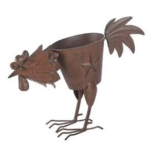Country Rooster Lone Star Outdoor Garden Planter Iron Pot Weathered Brown Finish