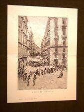 Risorgimento d'Italia Il 15 maggio 1848 a Napoli Incisione di E. Matania