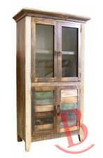 Rustic Stan Bookcase 2 Glass Doors 2 Wood Doors Western Cabin Lodge Shabby Chic