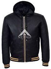 Men's Baseball Hooded Black Leather Jacket Slim Fit Stylish 100% LEATHER 4486