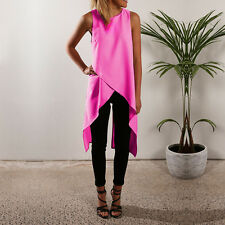 Womens Casual Sleeveless Vest Top Blouse Ladies Summer Shirt Long Tops Dress UK