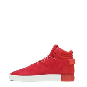 adidas Originals Tubular Invader Men's Suede Trainers Shoes Boots Lace up Red