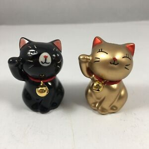 """SET of 2 Japanese 1.5""""H Mini Gold and Black Lucky Cats with Bell Made In Japan"""