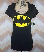 NWT BATMAN Sz XL junior Black Short sleeve Hooded Top Logo Cotton blend