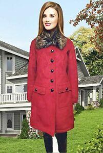 CENTIGRADE WOMENS WINTER COAT SIZE 10-12 FAUX SUEDE FUR COLLAR FUR LINING#49