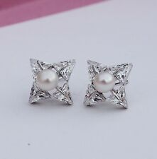 Silver Stud Earrings Gift Pe5 Freshwater Pearl Triangle Cubic Zirconia Sterling