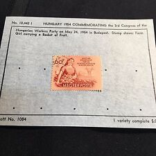 1954 Hungary Postage Stamp on Old Scott Info Sheet #1084