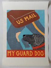 "STEPHEN HUNECK  - WOODCUT - ""MY GUARD DOG"" SALLY, & MAILMAN BITTEN - ca. 1996"