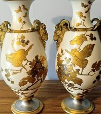 HUGE ANTIQUE Gold Gilded Ram Head Vases-Thomas Webb Sons-Urns-RARE-1800's-Birds