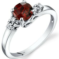 14K White Gold Garnet Diamond Solstice Ring Size 7