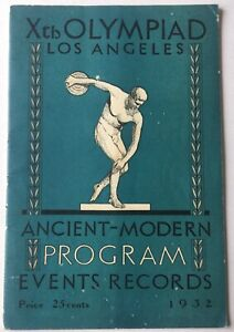 1932 Xth Olympiad Program Events Records Booklet
