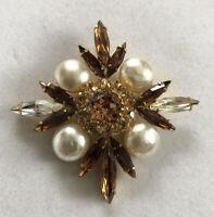 Vintage Diamanté Faux Pearl Brooch