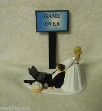 Wedding Game Over Beer Can Laptop Computer Drunk Geek Nerd Groom Cake Topper