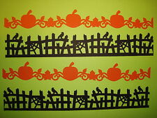 10 HALLOWEEN BLACK & ORANGE PUMPKIN & SCARY FENCE BORDER DIE CUTS PUNCHES CARDS