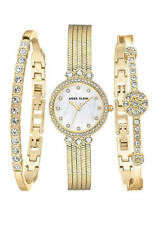 ORIGINAL Anne Klein Watch Set Swarovski Crystals 2 Bracelets Gold Tone 25mm